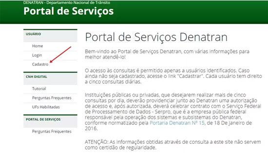Como fazer o cadastro no Portal de Serviços do Denatran